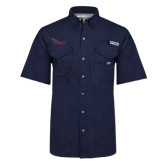 Columbia Bonehead Navy Short Sleeve Shirt-Flames Lee University