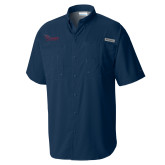 Columbia Tamiami Performance Navy Short Sleeve Shirt-Flames Lee University