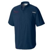 Columbia Tamiami Performance Navy Short Sleeve Shirt-Flames Lee University