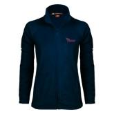 Ladies Fleece Full Zip Navy Jacket-Flames Lee University