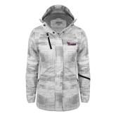 Ladies White Brushstroke Print Insulated Jacket-Flames Lee University