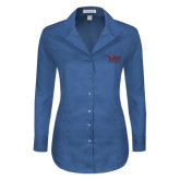 Ladies Red House Deep Blue Herringbone Non Iron Long Sleeve Shirt-Official Logo