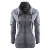 Ladies Sport Wick Stretch Full Zip Charcoal Jacket-Flames Lee University