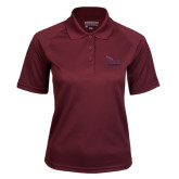 Ladies Maroon Textured Saddle Shoulder Polo-Official Logo