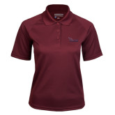 Ladies Maroon Textured Saddle Shoulder Polo-Flames Lee University