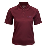 Ladies Maroon Textured Saddle Shoulder Polo-Arched Lee