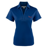 Ladies Navy Performance Fine Jacquard Polo-Flames Lee University