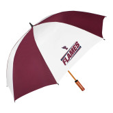 62 Inch Maroon/White Umbrella-Slanted Flames w/ Logo