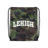 Nylon Camo Drawstring Backpack-Arched Lehigh