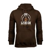 Brown Fleece Hoodie-Lehigh Basketball Stacked w/Ball