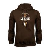 Brown Fleece Hoodie-Lehigh Lacrosse Stacked w/Stick Head