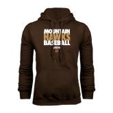 Brown Fleece Hoodie-Mountain Hawks Baseball