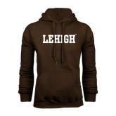 Brown Fleece Hoodie-Flat Lehigh