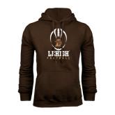 Brown Fleece Hoodie-Lehigh Football Stacked w/Ball