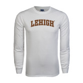 White Long Sleeve T Shirt-Arched Lehigh