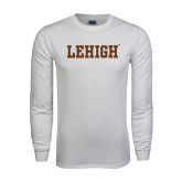 White Long Sleeve T Shirt-Flat Lehigh