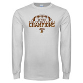 White Long Sleeve T Shirt-2017 Patriot League Football Champions 4
