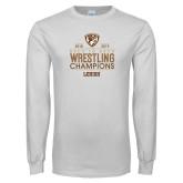 White Long Sleeve T Shirt-Back to Back EIWA Wrestling Champions