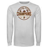 White Long Sleeve T Shirt-2019 Mens Soccer Champions