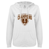 ENZA Ladies White V Notch Raw Edge Fleece Hoodie-2017 Patriot League Football Champions 2