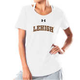Ladies Under Armour White Charged Cotton Tee-Arched Lehigh