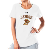 Ladies Under Armour White Charged Cotton Tee-Official Logo Distressed