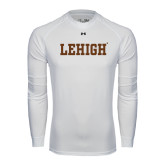 Under Armour White Long Sleeve Tech Tee-Flat Lehigh