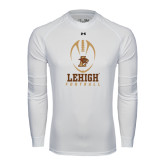 Under Armour White Long Sleeve Tech Tee-Lehigh Football Stacked w/Ball