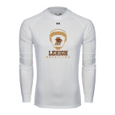 Under Armour White Long Sleeve Tech Tee-Lehigh Wrestling Stacked w/Headgear
