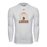 Under Armour White Long Sleeve Tech Tee-Lehigh Basketball Stacked w/Ball