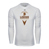 Under Armour White Long Sleeve Tech Tee-Lehigh Lacrosse Stacked w/Stick Head