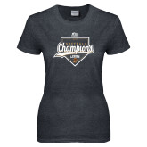 Ladies Dark Heather T Shirt-2017 Patriot League Softball Champions