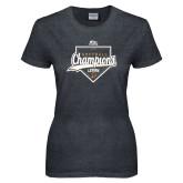 Ladies Dark Heather T Shirt-2017 Patriot League Softball Champions