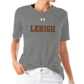 Ladies Under Armour Heather Grey Triblend Tee-Flat Lehigh