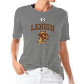 Ladies Under Armour Heather Grey Triblend Tee-Official Logo Distressed