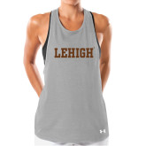 Ladies Under Armour Grey Pinhole Tank-Flat Lehigh
