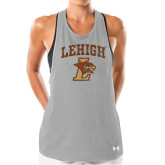 Ladies Under Armour Grey Pinhole Tank-Official Logo Distressed