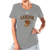 Ladies Under Armour Grey Charged Cotton Tee-Official Logo