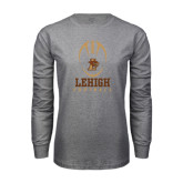Grey Long Sleeve T Shirt-Lehigh Football Stacked w/Ball