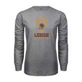 Grey Long Sleeve T Shirt-Lehigh Wrestling Stacked w/Headgear