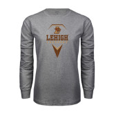 Grey Long Sleeve T Shirt-Lehigh Lacrosse Stacked w/Stick Head