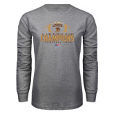 Grey Long Sleeve T Shirt-11-Time Patriot League Champions Football 2016