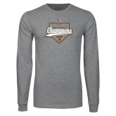 Grey Long Sleeve T Shirt-2017 Patriot League Softball Champions