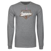 Grey Long Sleeve T Shirt-2017 Patriot League Softball Champions