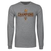 Grey Long Sleeve T Shirt-2017 Patriot League Football Champions