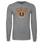 Grey Long Sleeve T Shirt-2017 Patriot League Football Champions 2