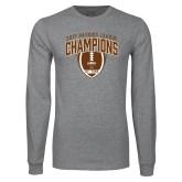 Grey Long Sleeve T Shirt-2017 Patriot League Football Champions 2