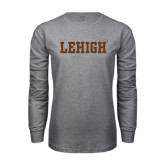 Grey Long Sleeve T Shirt-Flat Lehigh
