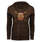 ENZA Ladies Brown Fleece Full Zip Hoodie-2016 Baseball Champions