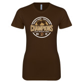 Next Level Ladies SoftStyle Junior Fitted Dark Chocolate Tee-2019 Mens Soccer Champions
